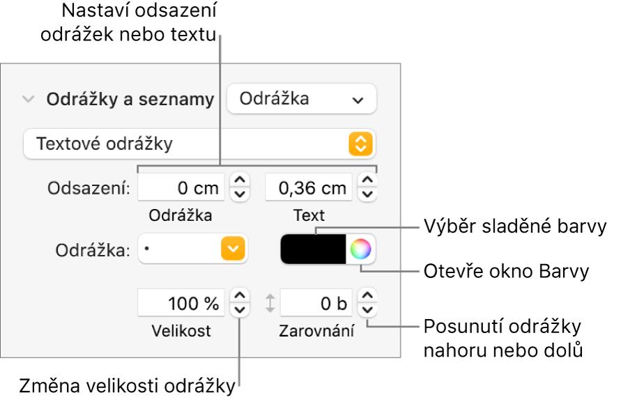 Sekce Odrážky aseznamy spopisky ovládacích prvků pro odsazení odrážek atextu, barvu odrážek, jejich velikost azarovnání