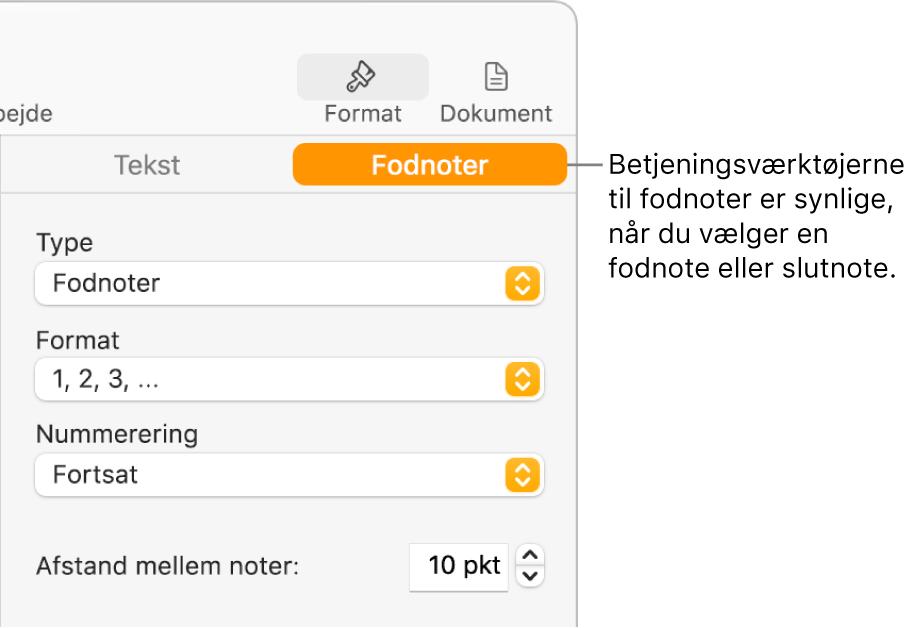Vinduet Fodnoter med lokalmenuer til Type, Format, Nummerering og afstand mellem noter.