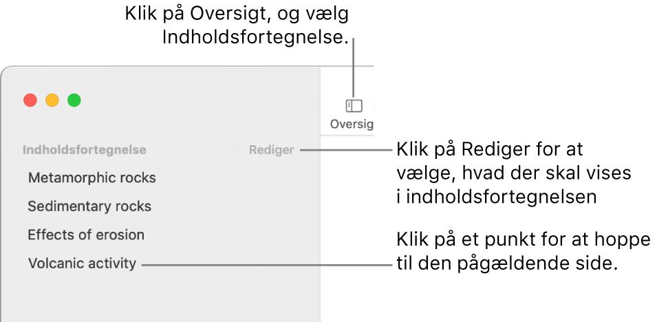 Indholdsfortegnelsen i venstre side af Pages-vinduet med en Rediger-knap øverst til højre i indholdsoversigten og en liste med punkterne i indholdsfortegnelsen. Knappen Oversigt findes øverst til venstre på Pages-værktøjslinjen over indholdsoversigten.