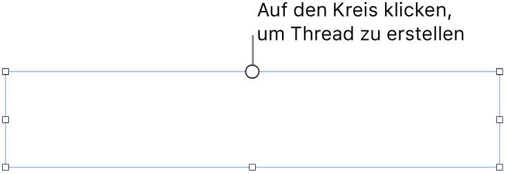 Ein leeres Textfeld mit einem Kreis oben und Aktivpunkten für die Größenänderungen an den Ecken, Seiten und unten