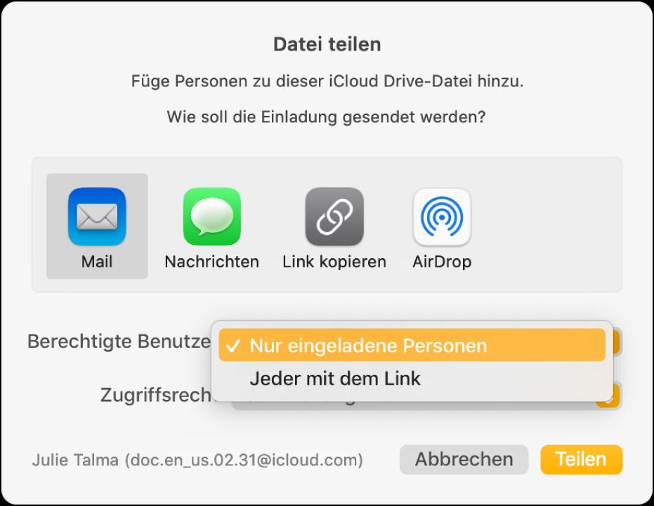 """Der Bereich """"Freigabeoptionen"""" im Dialogfenster für die Zusammenarbeit mit dem geöffneten Einblendmenü """"Berechtigte Benutzer"""" und der ausgewählten Option """"Nur eingeladene Personen""""."""