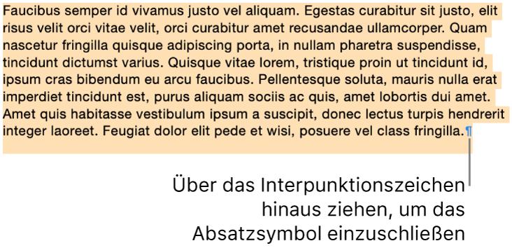 Es ist ein Absatz ausgewählt, bei dem das Absatzsymbol in die Auswahl einbezogen wurde.