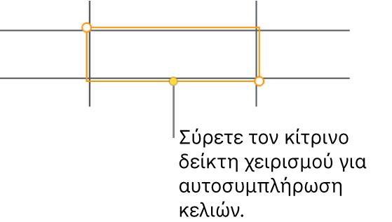 Ένα επιλεγμένο κελί με μια κίτρινη λαβή που μπορείτε να σύρετε για αυτοσυμπλήρωση κελιών.