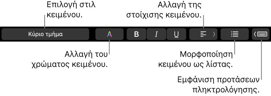 Το Touch Bar στο MacBook Pro με χειριστήρια για επιλογή ενός στιλ κειμένου, αλλαγή του χρώματος κειμένου, αλλαγή της στοίχισης κειμένου, μορφοποίηση κειμένου ως λίστας και εμφάνιση προτάσεων πληκτρολόγησης.