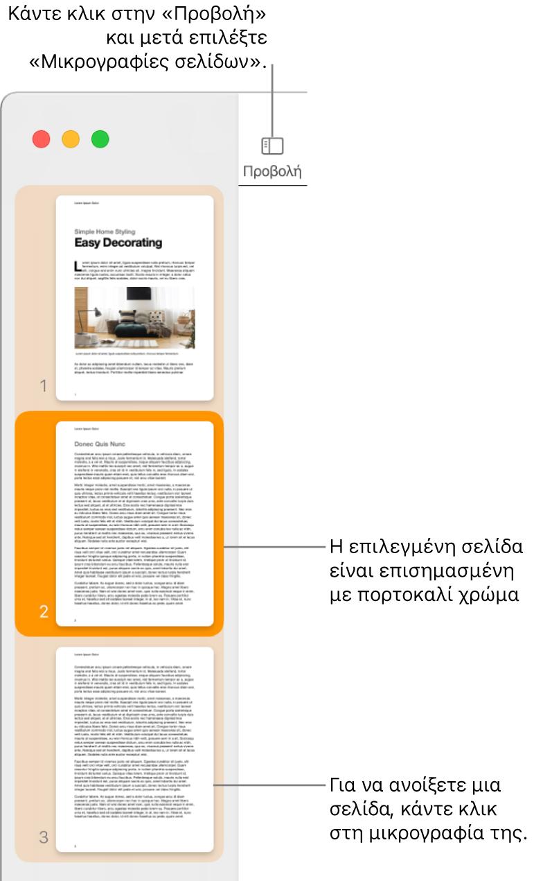 Η πλαϊνή στήλη στην αριστερή πλευρά του παραθύρου Pages με την προβολή μικρογραφιών σελίδων ανοιχτή και μια επιλεγμένη σελίδα επισημασμένη με σκούρο πορτοκαλί.