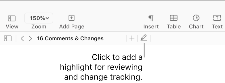 The menu bar showing the Insert menu and below it, the Pages toolbar with review tools showing and a callout to the Highlight button.