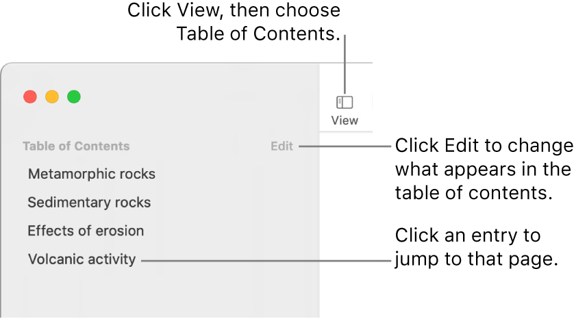 The table of contents on the left side of the Pages window with an Edit button at the top-right corner of the sidebar and table of contents entries in a list.