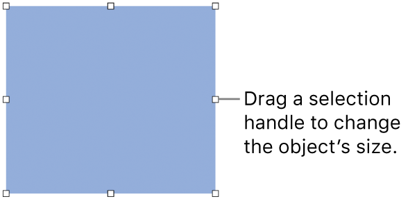 An object with white squares on its border for changing the object's size.
