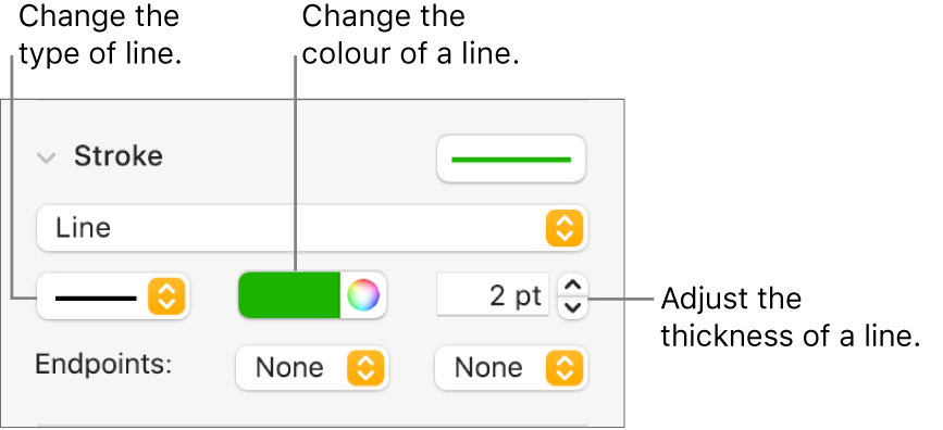 The stroke controls for setting endpoints, line thickness and colour.