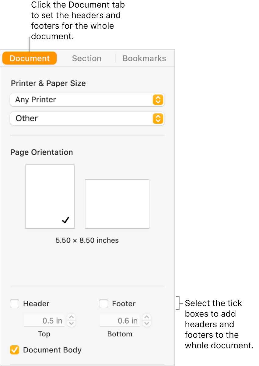 The Document sidebar with the Document tab at the top of the sidebar selected. Below the Header and Footer tick boxes are arrows to change the distance of headers and footers from the top and bottom of the page.