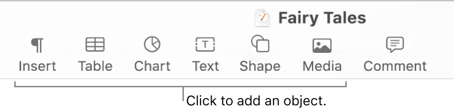 The toolbar with buttons for adding tables, charts, text, shapes, and media.