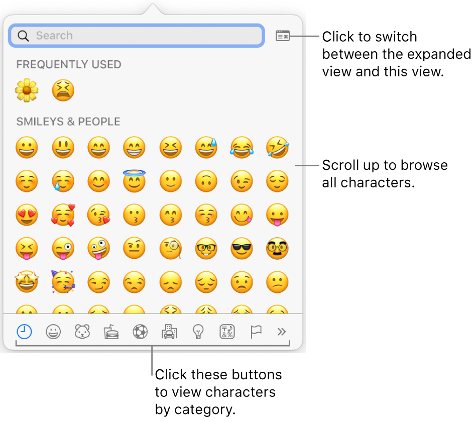 The Special Characters pop-up showing emoticons, buttons for different types of symbol at the bottom, and a callout to a button to show the full Characters window.
