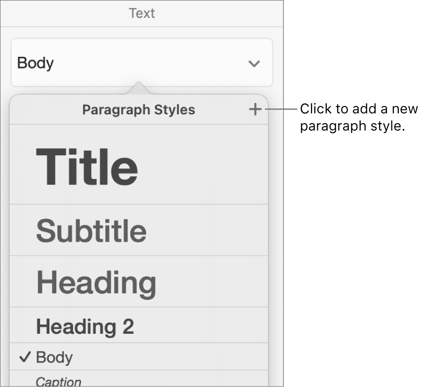 The Paragraph Styles menu with a callout to the New Style button.