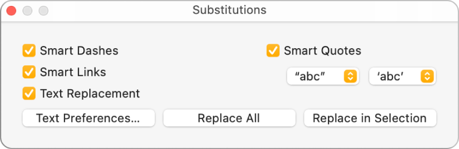 The Substitutions window.