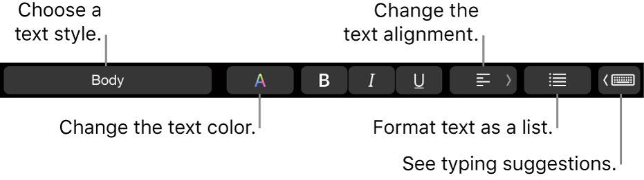 The MacBook Pro Touch Bar with controls for choosing a text style, changing the text color, changing the text alignment, formatting text as a list, and showing typing suggestions.