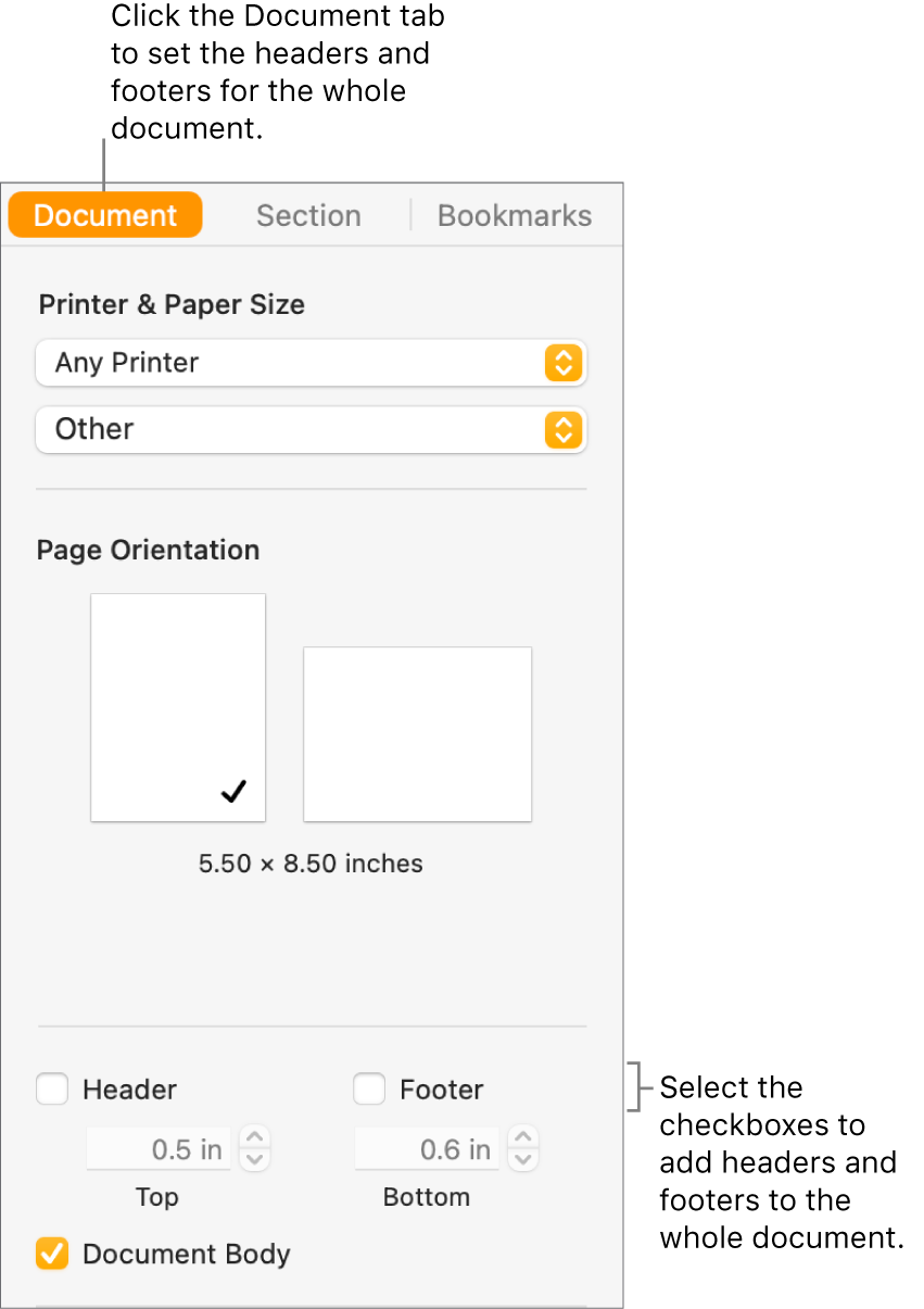 The Document sidebar with the Document tab at the top of the sidebar selected. Below the Header and Footer checkboxes are arrows to change the distance of headers and footers from the top and bottom of the page.