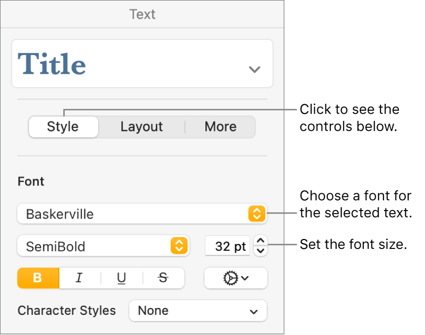 Text controls in the Style section of the Format sidebar for setting font and font size.