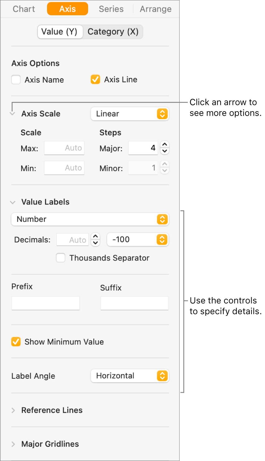 Controls for formatting chart axis markings.