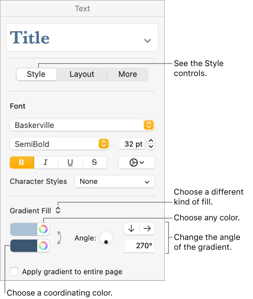 Controls for choosing predesigned colors or any color.