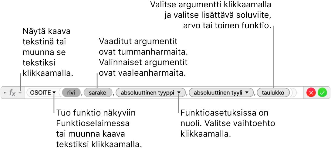 Kaavan muokkaaja, jossa näkyy OSOITE-funktio argumenttimerkkeineen.