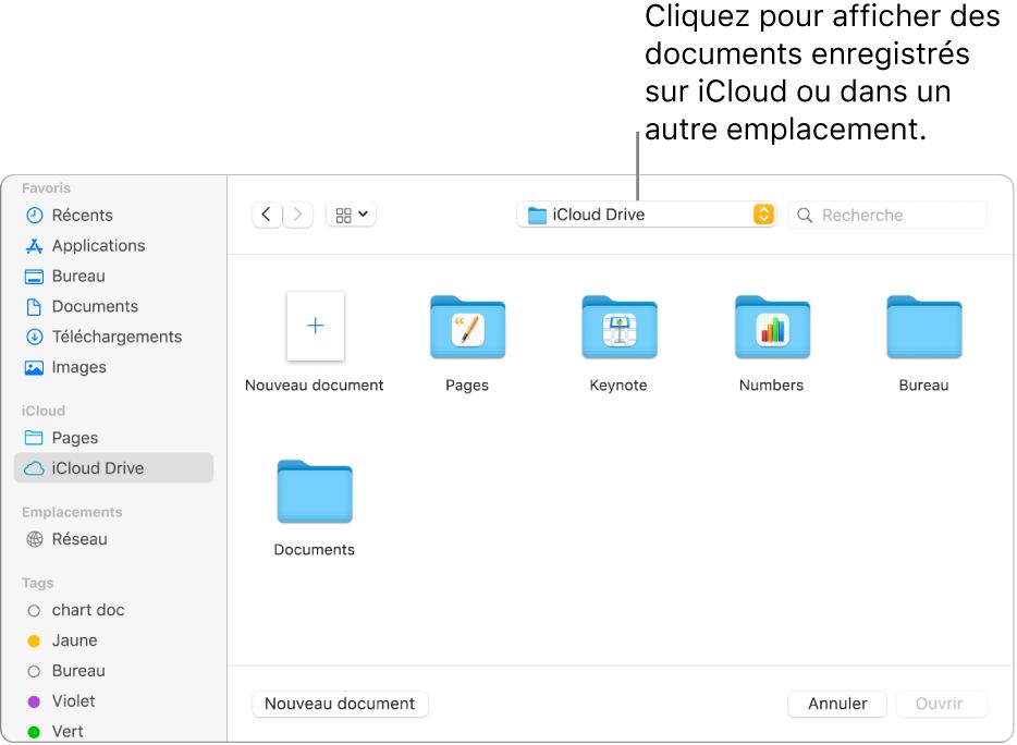 La zone de Dialogue Ouvrir avec la barre latérale ouverte sur la gauche et iCloudDrive sélectionné dans le menu local en haut. Des dossiers pour Keynote, Numbers et Pages apparaissent dans la zone de dialogue, ainsi que le boutonNouveau document.