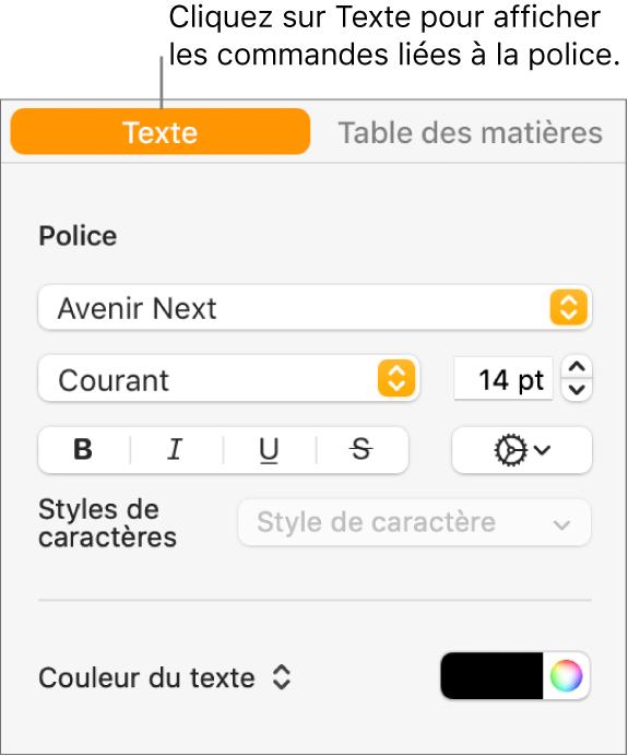 Barre latérale Format avec l'onglet Texte sélectionné et les commandes de police pour modifier la police et la taille de la police et pour ajouter des styles de caractère.