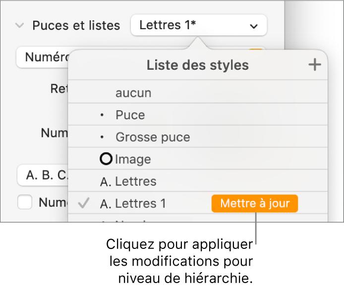 Menu local «Styles de liste» avec un bouton «Mettre à jour» en regard du nom du nouveau style.
