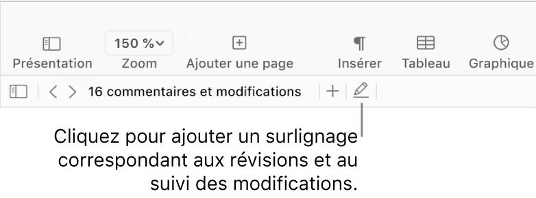 La barre des menus affichant le menu Insertion et en dessous, la barre d'outils Pages avec des outils de révision et une légende du bouton de Surligner.