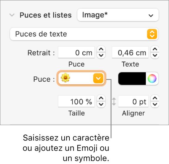 La section «Puces et listes» de la barre latérale Format. Le champ Puce affiche un Emoji en forme de fleur.