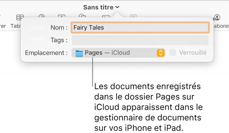 Zone de dialogue d'enregistrement d'un document avec Pages (iCloud dans le menu local Emplacement).