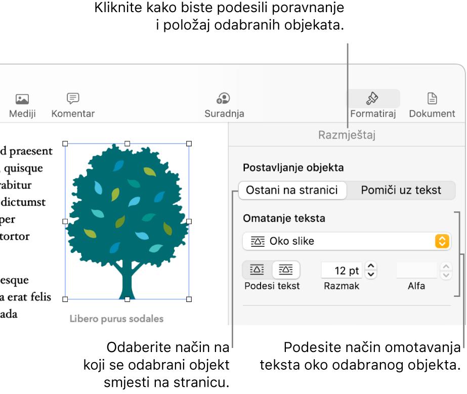 Izbornik Formatiraj s prikazanim rubnim stupcem Razmjesti. Postavke Smještanje objekta nalaze se pri vrhu rubnog stupca Razmjesti, s postavkama za Omatanje teksta.