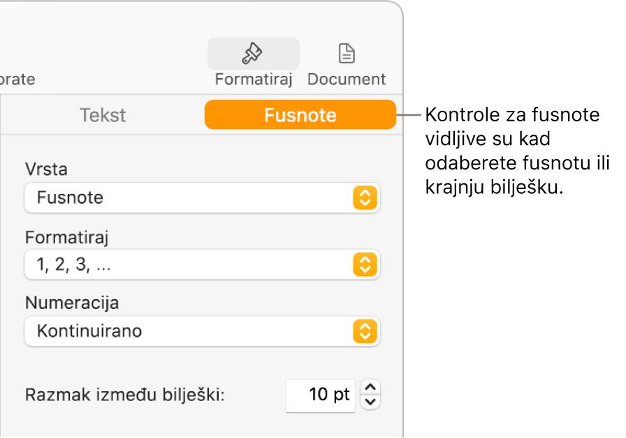 Prozor Fusnote s prikazom skočnih izbornika za stavke Vrsta, Format, Numeriranje i prostorom između bilješki.