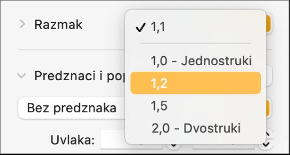 Skočni izbornik Razmak s opcijama Jednostruki, Dvostruki i drugim opcijama.