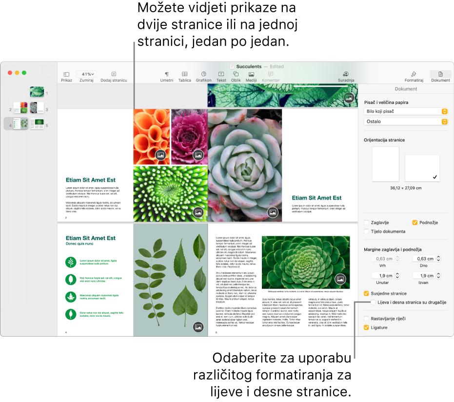 """Prozor aplikacije Pages s minijaturama stranice i stranicama dokumenta prikazanom kao dvostranična širenja. U rubnom stupcu Dokument s desne strane, odznačena je potvrdna kućica """"Lijeva i desna strana su različite""""."""