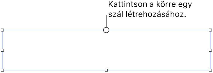 Üres szövegmező a tetején egy fehér körrel, a sarkokban, az oldalakon és alul pedig fogantyúkkal.