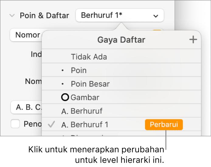 Menu pop-up Gaya Daftar dengan tombol Perbarui di samping nama gaya baru.