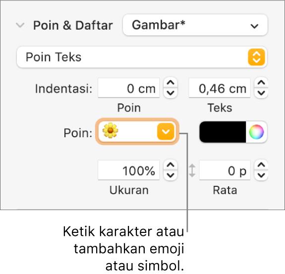 Bagian Poin & Daftar pada bar samping Format. Bidang Poin menampilkan emoji bunga.