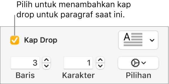 Kotak teks Kap Drop dipilih, dan menu pop-up muncul di kanannya; kontrol untuk mengatur tinggi garis, jumlah karakter, dan pilihan lainnya muncul di bawahnya.