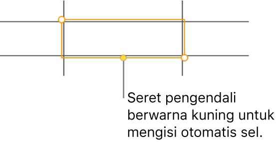 Sel yang dipilih dengan pengendali kuning yang dapat diseret untuk mengisi-auto sel.