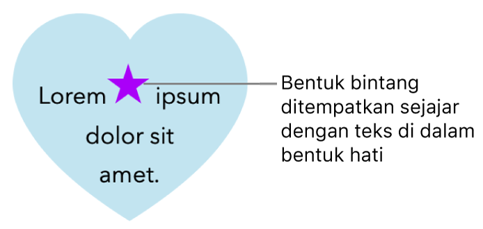 Bentuk bintang muncul sejajar dengan teks di dalam bentuk hati.