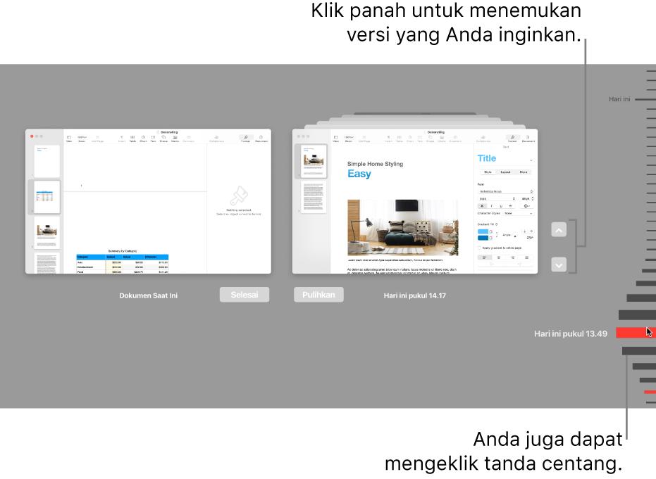 Garis waktu versi menampilkan dokumen saat ini di sebelah kiri dan versi terbaru di sebelah kanan.