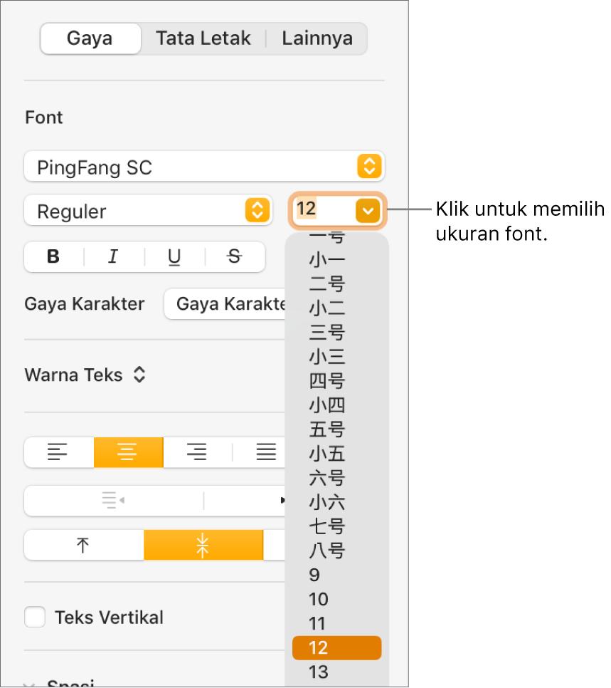 Bagian Gaya pada bar samping Format dengan menu pop-up ukuran font terbuka. Ukuran font standar pemerintah Tiongkokdaratan muncul di bagian atas menu pop-up dengan ukuran poin di bawah.