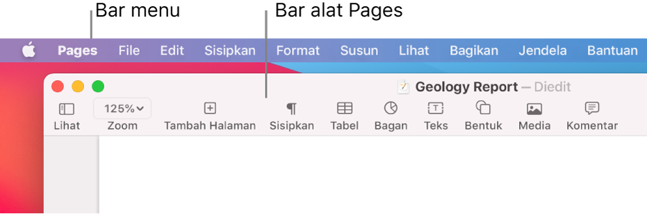 Bar menu di bagian atas layar dengan menu Apple, Pages, File, Edit, Sisipkan, Format, Susun, Lihat, Bagikan, Jendela, dan Bantuan. Di bawah bar menu adalah dokumen Pages yang terbuka dengan tombol bar alat di sepanjang bagian atas untuk Lihat, Zoom, Tambah Halaman, Sisipkan, Tabel, Bagan, Teks, Bentuk, Media, dan Komentar.