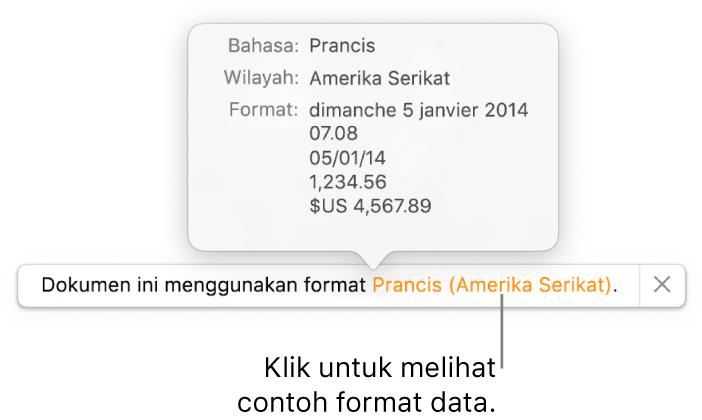 Pemberitahuan pengaturan bahasa dan wilayah yang berbeda, menunjukkan contoh format dalam bahasa dan wilayah tersebut.