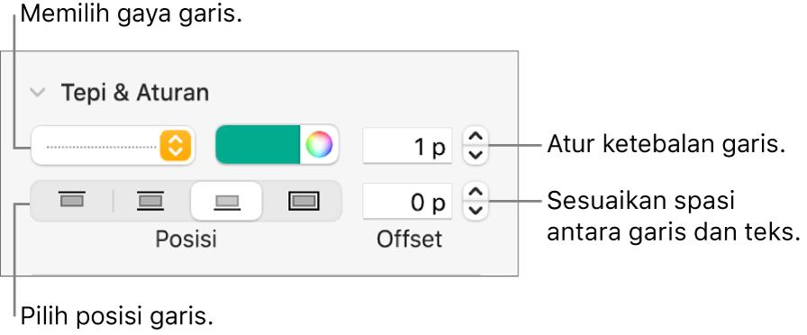 Kontrol untuk mengubah gaya, ketebalan, posisi, dan warna garis.