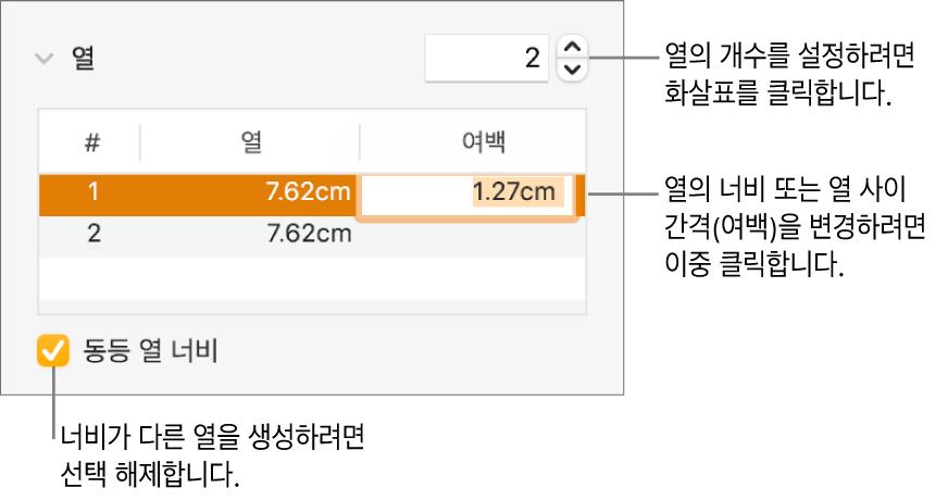 열 제어기를 표시하는 포맷 속성의 레이아웃 패널.