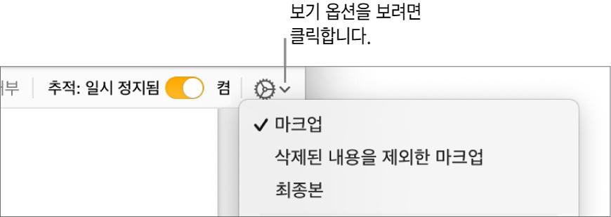 마크업, 삭제된 내용을 제외한 마크업, 최종본을 표시하는 검토 옵션 메뉴.