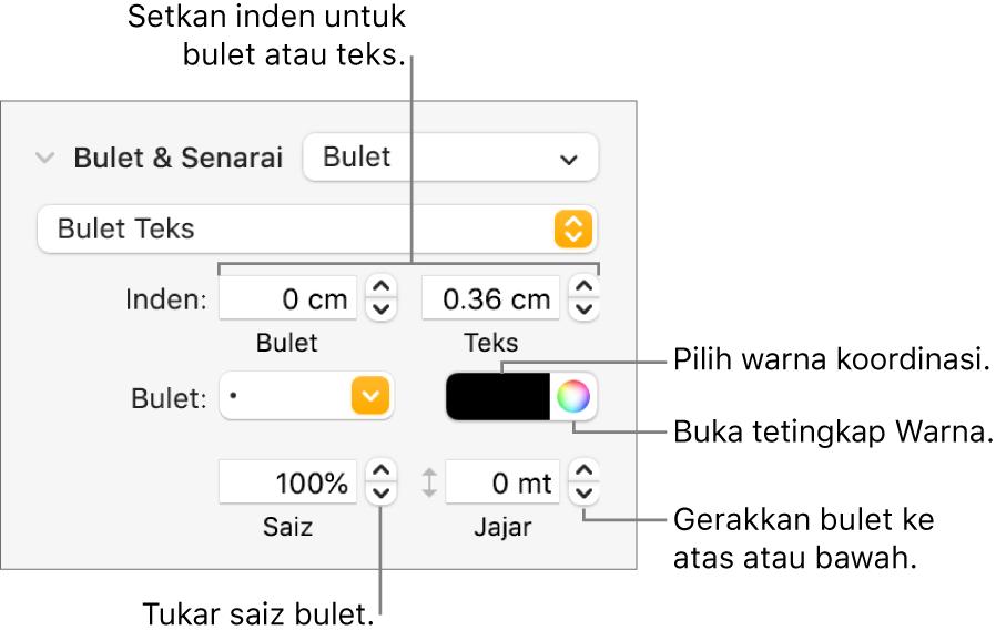Bahagian Bulet & Senarai dengan petak bual ke kawalan untuk bulet dan inden teks, warna bulet, saiz bulet dan penjajaran.