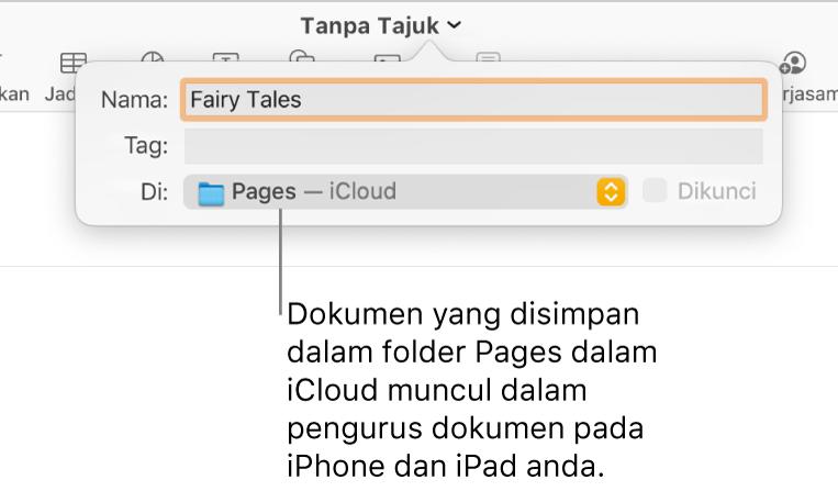Dialog Simpan untuk dokumen dengan Pages—iCloud dalam menu timbul Di.