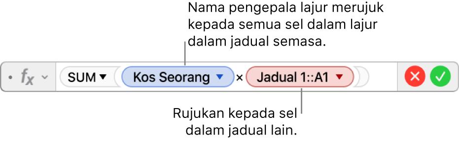 Editor Formula menunjukkan formula yang merujuk pada lajur dalam satu jadual dan sel dalam jadual lain.